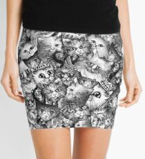 Cute Strange Creepy Weird Cat Pattern Mini Skirt