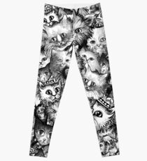 Cute Strange Creepy Weird Cat Pattern Leggings