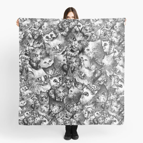 Cute Strange Creepy Weird Cat Pattern Scarf