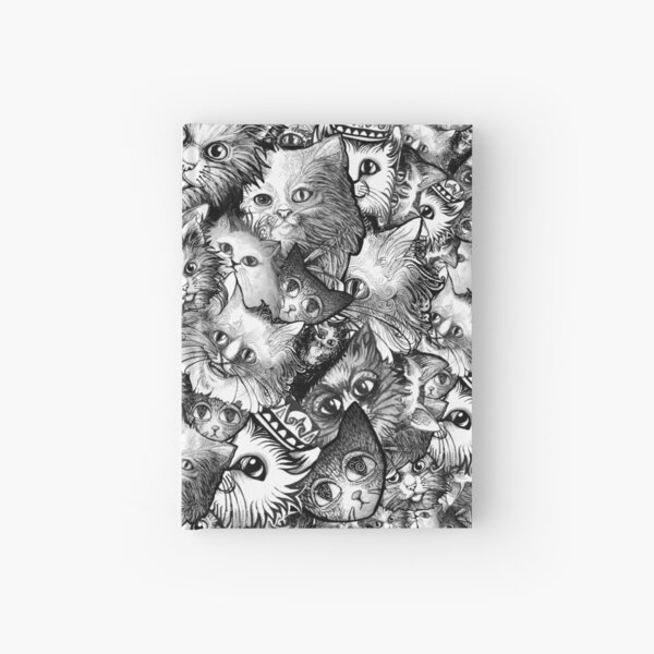 Cute Strange Creepy Weird Cat Pattern Hardcover Journal