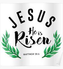 Matthew 28:6 he has risen.Christian Bibleverse Poster