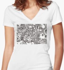 Escapees from the mind Women's Fitted V-Neck T-Shirt
