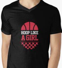Hoop like a girl | basketball shirt | basketball coach gift | basketball team gift | sports quote | basketball quotes | basketball player | basketball tshirt Men's V-Neck T-Shirt
