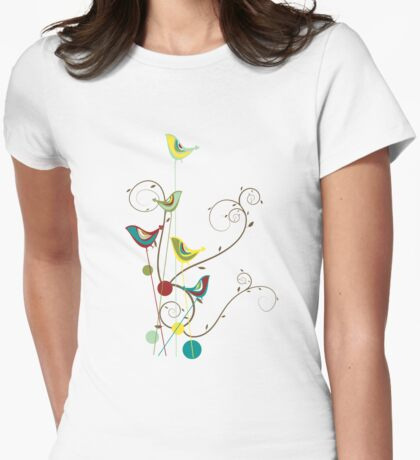 Colorful Whimsical Summer Birds And Swirls T-Shirt