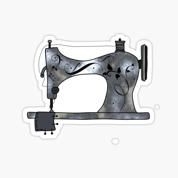 Silver Sewing Machine Sticker