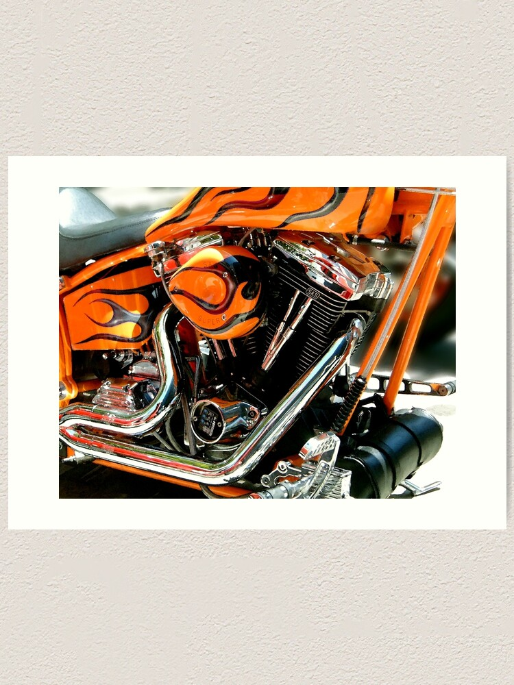 Alternate view of Flames and Chrome Art Print