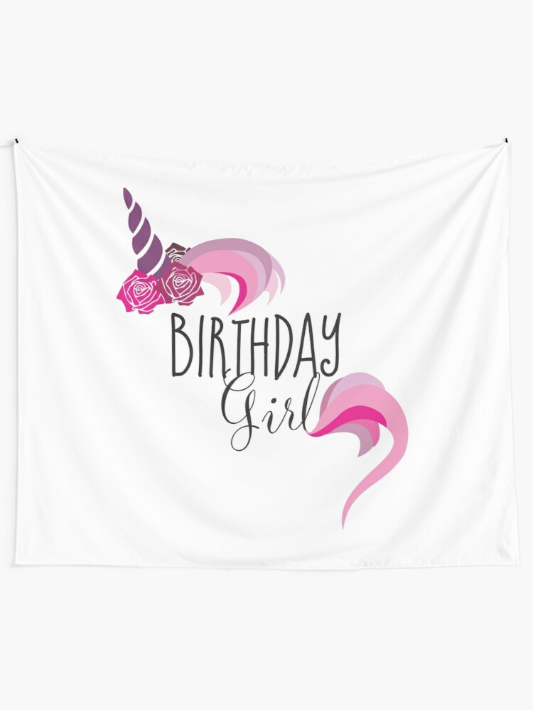 Unicorn Birthday T Shirt Gift Outfit Wall Tapestry