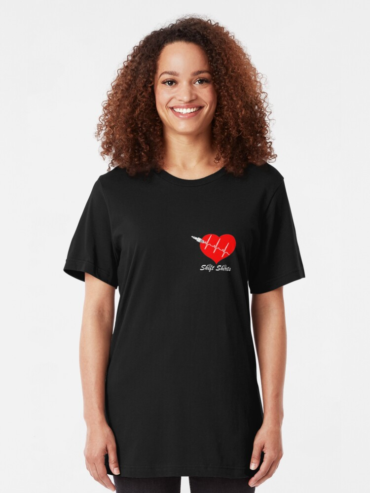 Alternate view of Shift Shirts Spark My Heart - Automotive Love Slim Fit T-Shirt