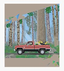 Chevy Silverado in a forest Photographic Print