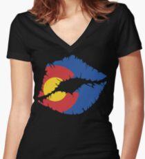 CO Lips Women's Fitted V-Neck T-Shirt
