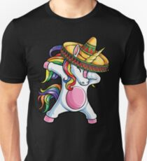Abtupfendes Einhorn-T-Shirt Cinco De Mayo Regenbogen-Sombrero-Kinder Slim Fit T-Shirt