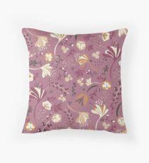 Beautiful Blooms Seamless Pattern on Plum Floor Pillow