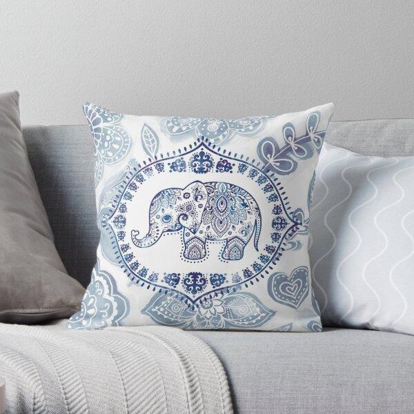 Boho lil' elephant - blue Throw Pillow