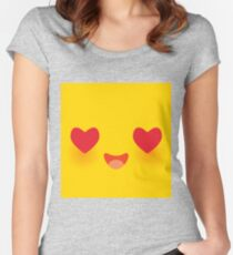 Kawaii funny muzzle in love with pink cheeks and big Red heart eyes Cute Cartoon Face on yellow Women's Fitted Scoop T-Shirt