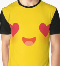 Kawaii funny muzzle in love with pink cheeks and big Red heart eyes Cute Cartoon Face on yellow Graphic T-Shirt