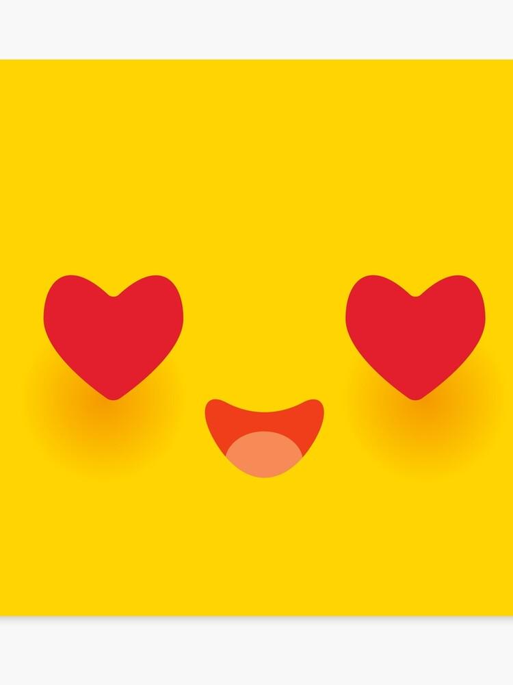 Museau Drôle Kawaii En Amour Avec Les Joues Roses Et Les Grands Yeux De Coeur Rouge Dessin Animé Mignon Visage Sur Jaune Impression Sur Toile
