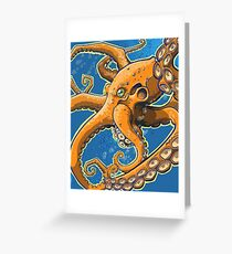 Tangerine Octopus on Blue Background Greeting Card
