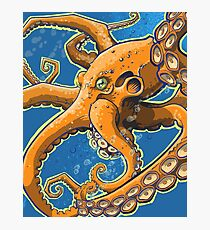 Tangerine Octopus on Blue Background Photographic Print