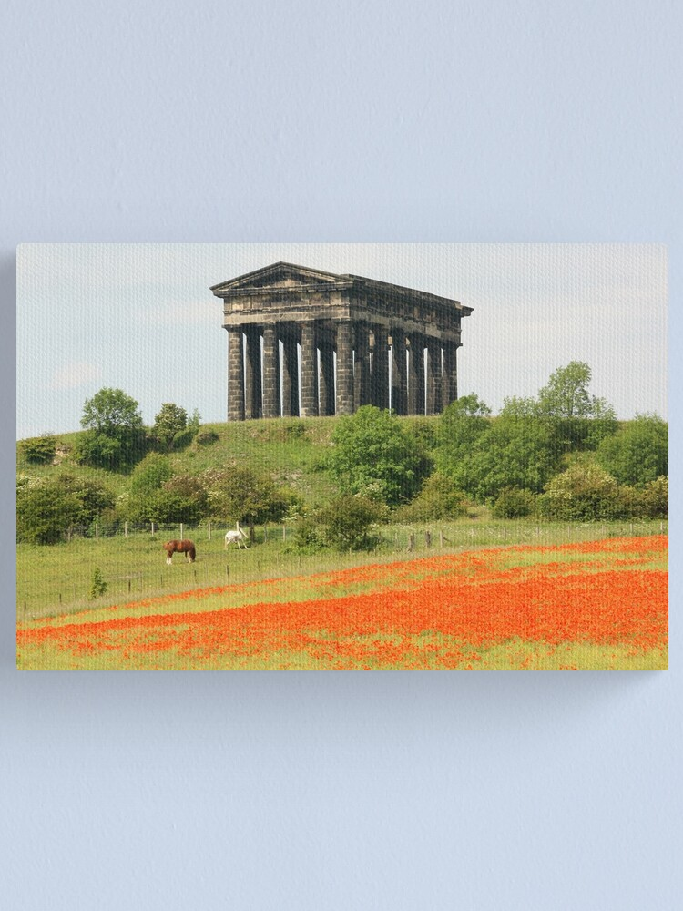 Alternate view of Poppies at Penshaw Monument, County Durham Canvas Print