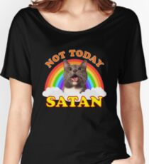 NOT TODAY SATAN! - Roger the Cat, Death Metal Rainbow Smiles Relaxed Fit T-Shirt