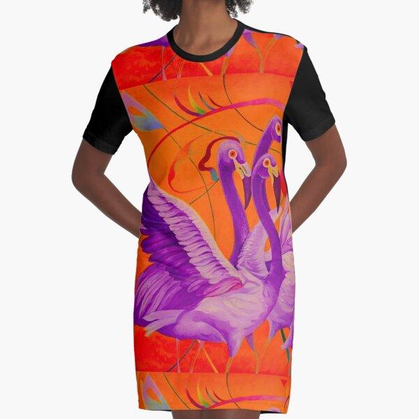 Purple Flamingo Graphic T-Shirt Dress
