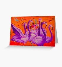 Purple Flamingo Greeting Card