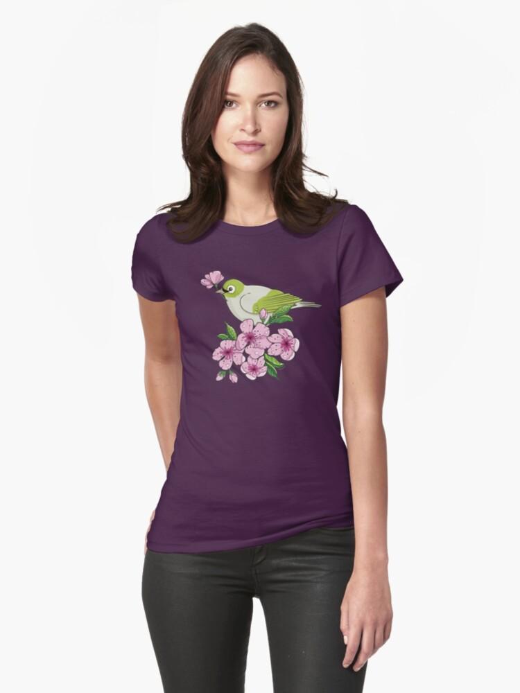 White-eye and sakura blossom - T-shirt by oksancia