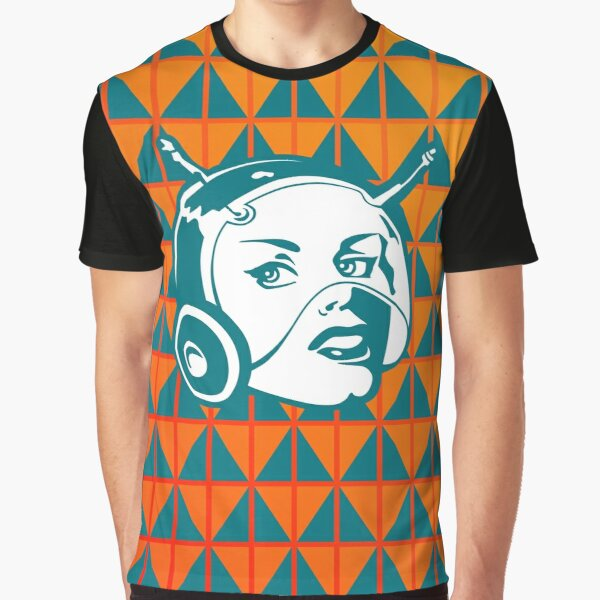 Faces: SciFi lady on a teal and orange pattern background Graphic T-Shirt