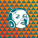 Faces: SciFi lady on a teal and orange pattern background by VrijFormaat
