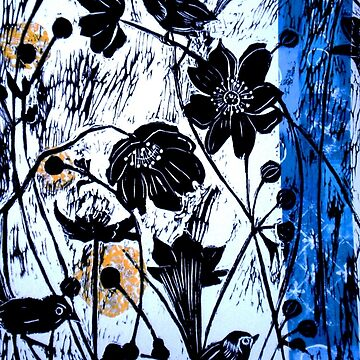 Japanase Windflowers - Chine Colle Woodcut by BillyLee