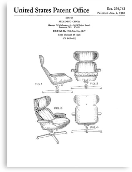 Iconic Eames Recliner Lounger Lounge Chair Patent Drawings By Framerkat