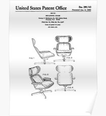 Iconic Eames Recliner/Lounger Lounge Chair Patent Drawings Poster