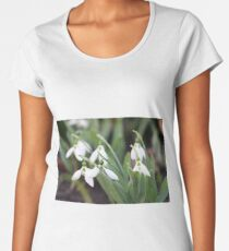 snowdrops garden close up spring season Women's Premium T-Shirt