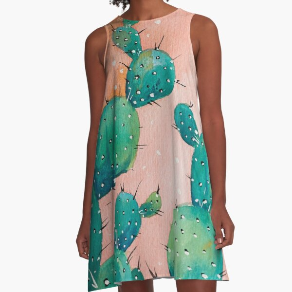 Desert cactus watercolor painting A-Line Dress