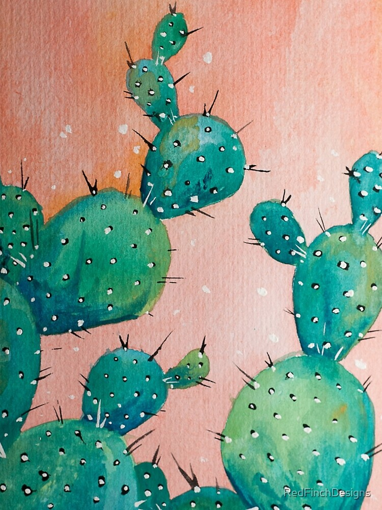Desert cactus watercolor painting by RedFinchDesigns