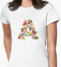 Spring Flowers Alphabet A Monogram Women's Fitted T-Shirt