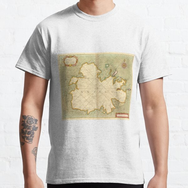 Vintage Map of Antigua (1702) Classic T-Shirt
