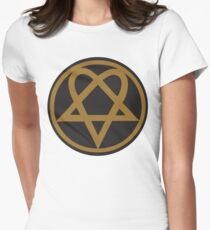 Heartagram - Gold on Black Womens Fitted T-Shirt