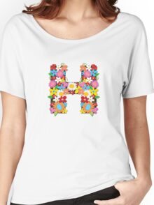 "Spring Flowers Alphabet Monogram ""H"" Women's Relaxed Fit T-Shirt"