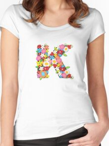 Spring Flowers Alphabet K Monogram Women's Fitted Scoop T-Shirt
