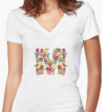 Spring Flowers Alphabet M Monogram Women's Fitted V-Neck T-Shirt