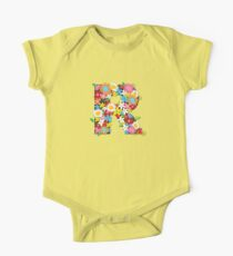 Spring Flowers Alphabet R Monogram One Piece - Short Sleeve