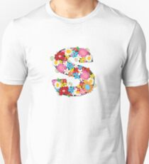Spring Flowers Alphabet S Monogram T-Shirt