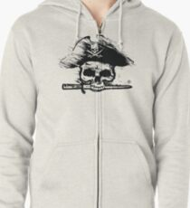 Pirates Adventure Mallorca Merchandise  Skull White Pattern Zipped Hoodie