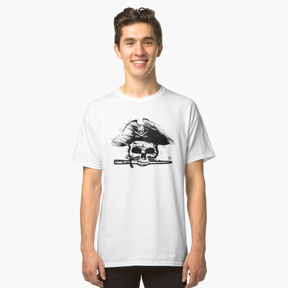 Pirates Adventure Mallorca Merchandise  Skull White Pattern Classic T-Shirt Front