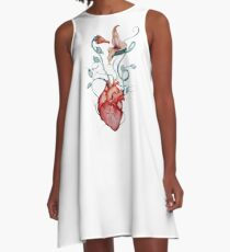 Pink Floyd Flowers | Watercolor painting | Rock fan art A-Line Dress