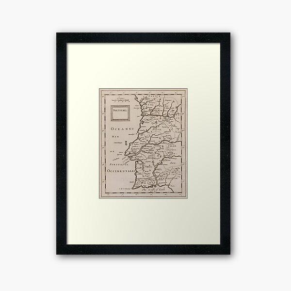 Vintage Map of Portugal (1680s) Framed Art Print