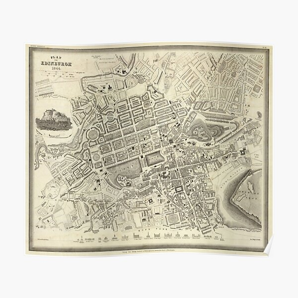 Vintage Map of Edinburgh Scotland (1844) Poster