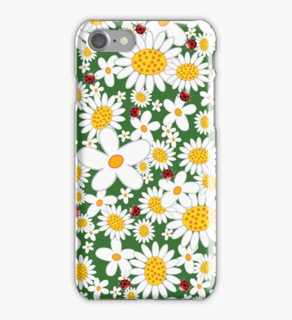 Whimsical Summer White Daisies & Red Ladybugs iPhone Case/Skin