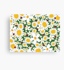 Whimsical Summer White Daisies & Red Ladybugs Canvas Print